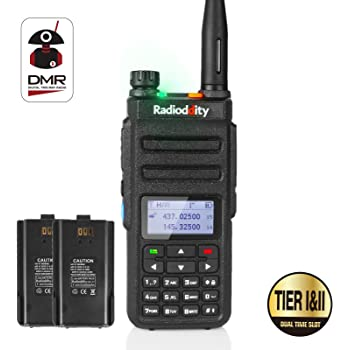 Radioddity GD-77 Dual Band Dual Time Slot DMR Digital / Analog Ricetrasmittente 1024 Channels PMR Ham Amateur Radio Compatible with MOTOTRBO, gratis Cavo di programmazione + Originale Batteria 2200mAh