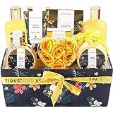 Spa Luxetique Coffret de Bain pour Femme, Parfum Tropical,12PC Coffret Cadeau, Boîteen Tissu,Gel Douche,Cadeau pour l'Anniver