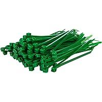 """Gocableties 100 Pack of Green Cable Ties, 200mm x 4.8mm, 8"""" Premium Tie Wraps, Strong Nylon Zip Ties"""