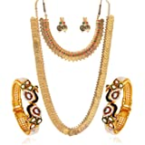 YouBella Gold Plated Pearl Studded Bangles Jewelry, Long Maharani Temple Coin Necklace, Short Red Green Necklace and Earrings
