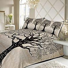 Jaipuri Style Life Tree Double Bedsheet King Size Jaipuri Rajashani 100% Cotton Multicolor - Black,Double