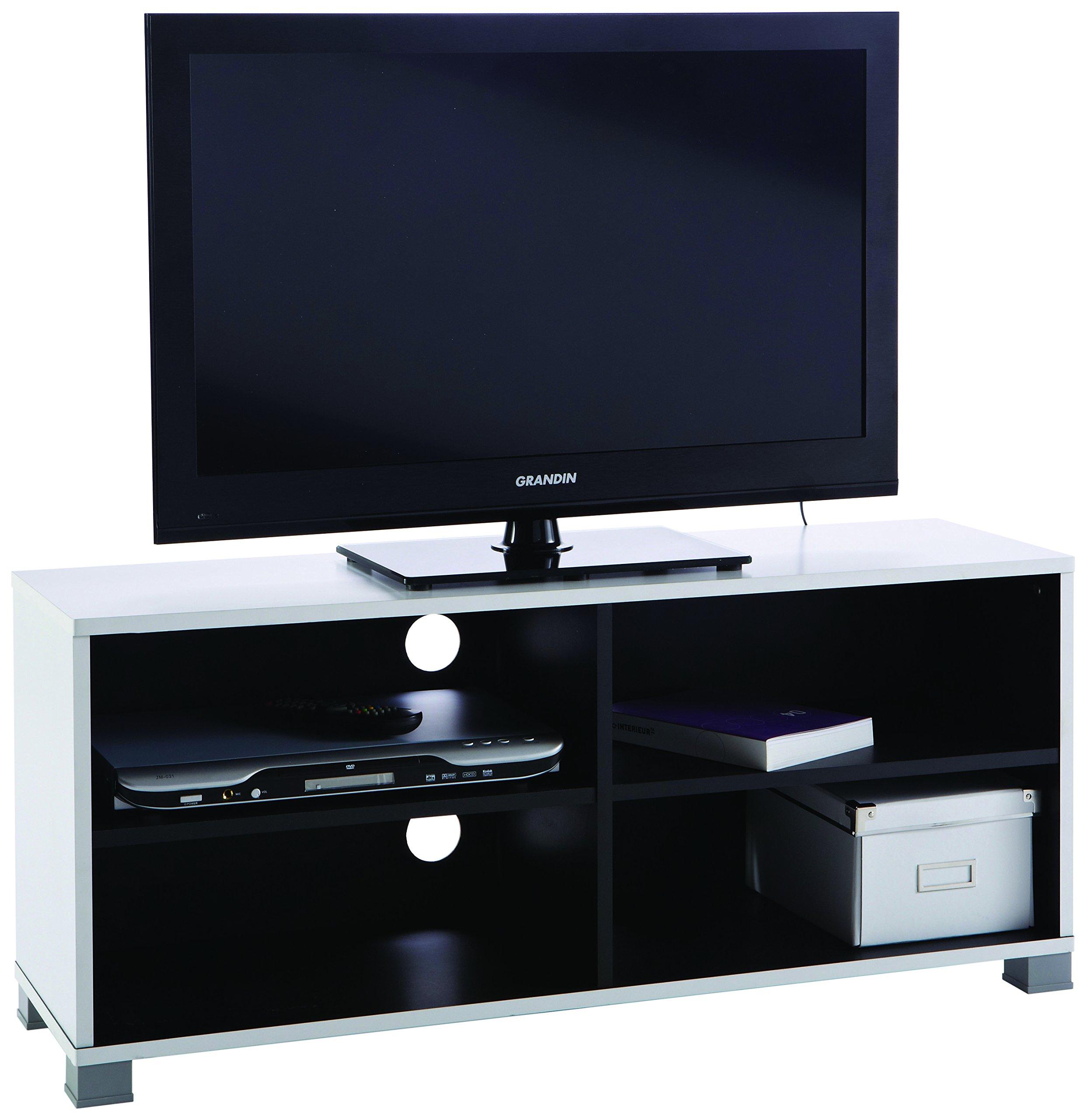 Demeyere #218 Grafit - Mueble para televisor (con baldas inferiores), color blanco y negro