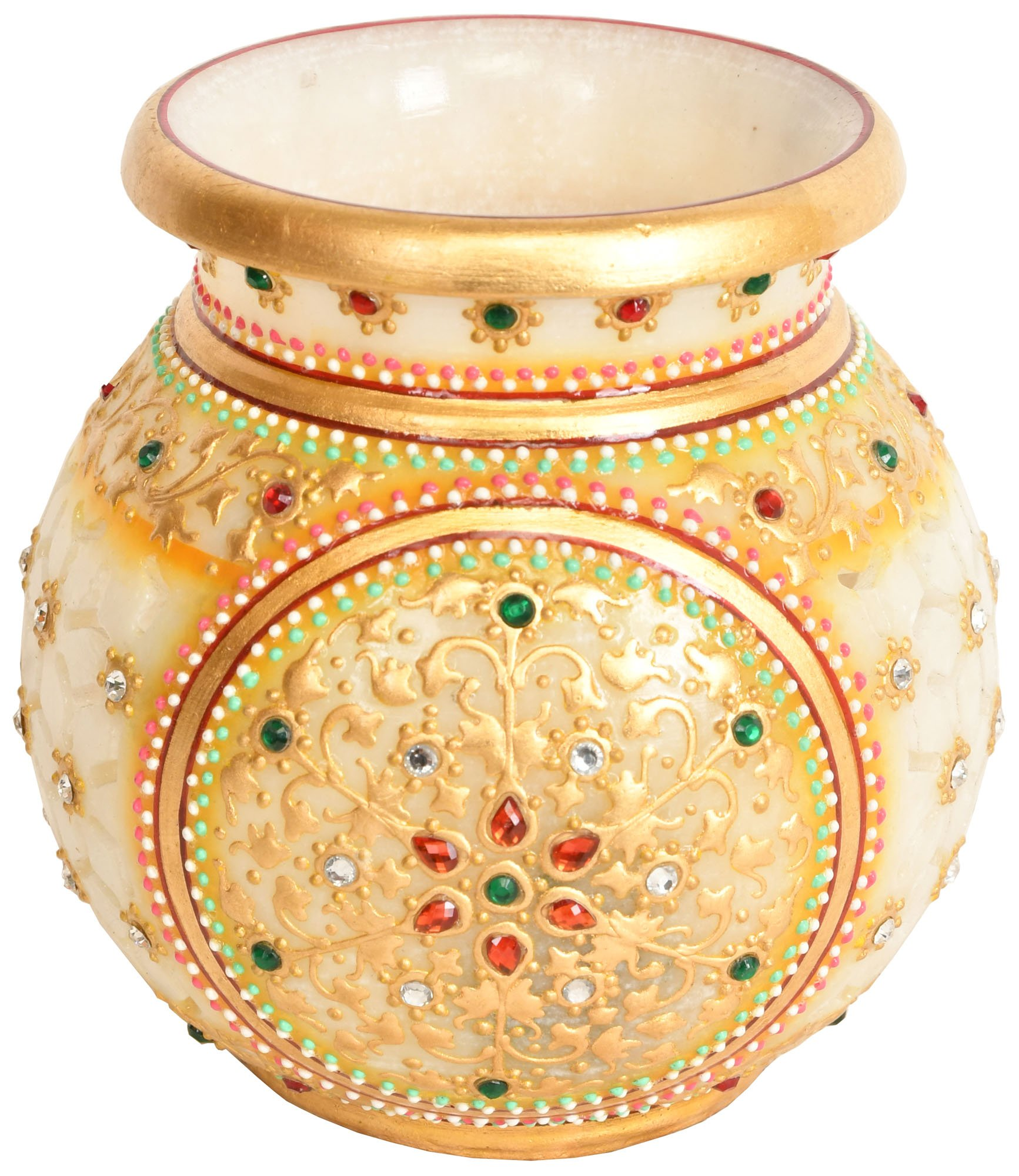 Exotic India Beautifully Decorated Pot with Cut Lattice – White Marble Sculpture