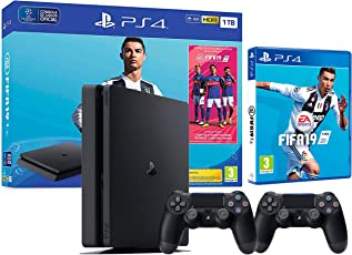 PS4 Slim 1TB schwarz Playstation 4 - FIFA 19 + 2 Dualshock Controller 4