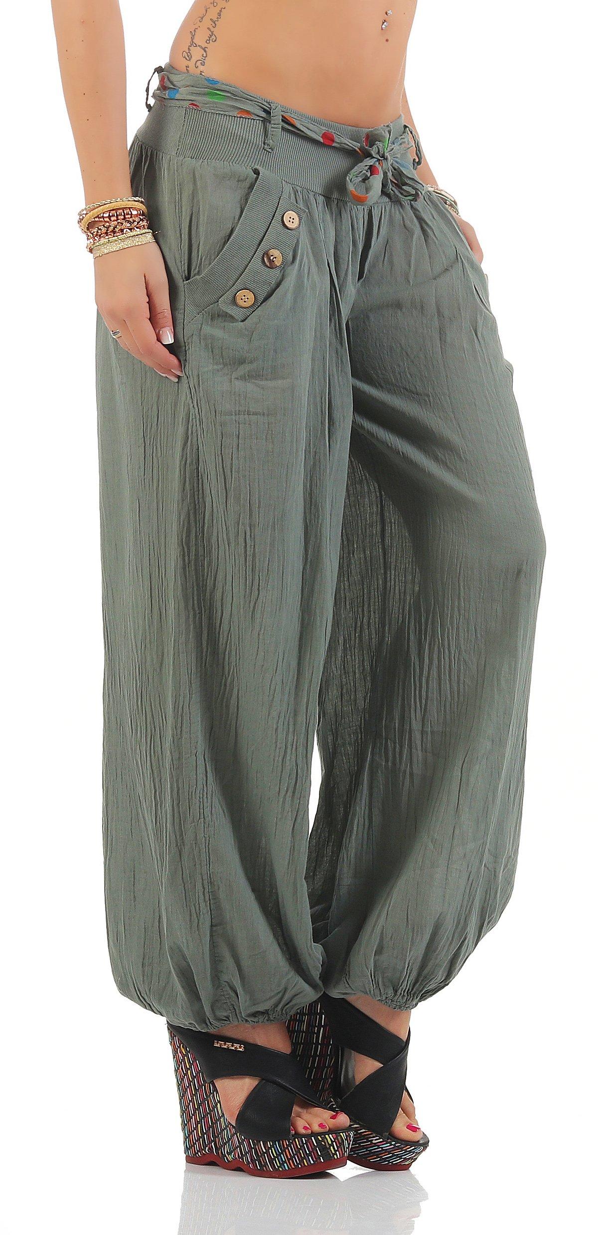 Moda Italy Pantaloni Harem con cintura Pantaloni a sbuffo Colori Uni  Pantaloni a palloncino Pantaloni alla turca Harem Pantaloncini Estivi Yoga  taglia unica de7770b3fd4
