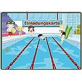 Einladungskarten Schwimmen Set Schwimmbad Kinder-Geburtsatag Einladung für Jungen Mädchen Set zur Poolparty Planschbecken Pool 11 Stück