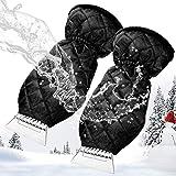 MATCC isskrapa för bil 2-pack vindrutesskrapa med handske bilskrapa vantar med vattentät snöborttagare fodrad av tjock fleece