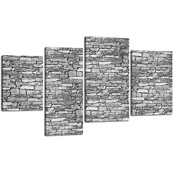 180x100cm Leinwandbild Variante 2 Natursteinmauer Grau LW382 4 Teile