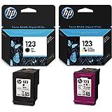 HP 123 Ink Cartridge Set, Black - F6V17AE & Tri-color - F6V16AE