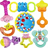TechHark Non-Toxic and BPA-Free Rattles for Babies -Set of 8 Pieces