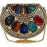 Anekaant Jewel Mosaic Design Metal Work Party Clutch Bag