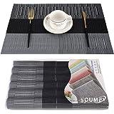OUME Lot de 6 Sets de Tables PVC Lavables Antidérapant Résistant à l'usure à la Chaleur, Facile à Nettoyer et Stocker, 45cmx3