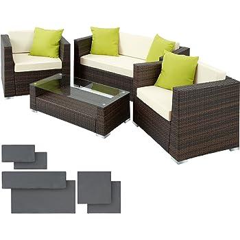 4 tlg Lounge GartenSofa Garnitur Poly Rattan Sitzgruppe Glastisch Braun