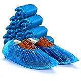 Ezlife Copriscarpe Monouso Protezione, 100 Pezzi Impermeabile Antiscivolo Copriscarpe in Plastica CPE Extra Resistente Scarpa