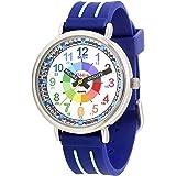 KIDDUS Montre Bracelet Éducative pour Enfants, garçon. Time Teacher Analogique avec Exercices. Mécanisme en Quartz Japonais.