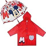 Paraguas Transparente Infantil y Chubasquero Pack Mickey Mouse – Paraguas Infantil Burbuja y Chubasquero Niño Impermeable con
