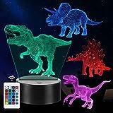 Veilleuse de Dinosaure, Cadeaux de Lampe de Dinosaure 3D avec 16 Changements de Couleur et Télécommande, Cadeaux pour Enfants