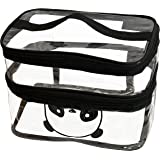 SNDIA Transparent Makeup Bag Double Layer Travel Cosmetic Case Toiletry Pouch