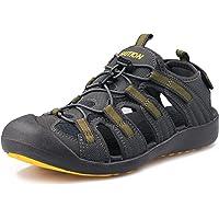 GRITION Men's Walking Sandals Outdoor Sport Adjustable Hiking Sandals Waterproof Quick Dry Protective Toecap Closed Toe…
