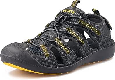 GRITION Men's Walking Sandals Outdoor Sport Adjustable Hiking Sandals Waterproof Quick Dry Protective Toecap Closed Toe for Beach Summer