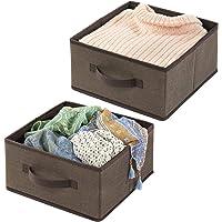 mDesign panier de rangement en fibre synthétique (lot de 2) – corbeille de rangement pour l'armoire – boite en tissu…