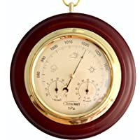 ClimeMET CM4012 Traditional Mahogany Combined Forecaster and Barometer Dial.