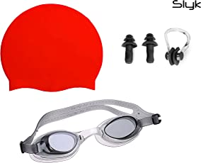 SLYK Swimming kit with Silicone Swim Cap, Goggle, 2 Pair Ear Plugs and 1 Nose Clip Combo