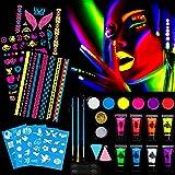 HOWAF Pinturas Faciales y Pintura Corporales, UV Luz Negra Pintura Fluorescente Maquillaje Cara Neon Arte Navidad y Halloween