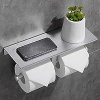 Geruike Porte-Rouleau Double en Aluminium avec Auto-adhésif pour Papier Toilette Sans Porte-foret pour Rouleau de Porte…