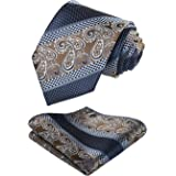 HISDERN Paisley Tie for Men With Handkerchief Woven Classic Floral Men's Necktie & Pocket Square Set Wedding Business