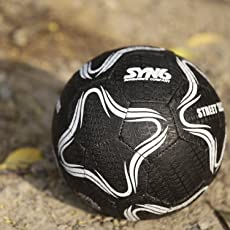 Syn6 Football, Street Soccer Ball Black, Made With Recycled Tyre, Excellent For Concret And Hard Grounds