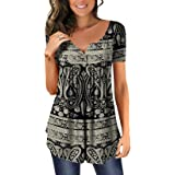 Womens Flora Print Blouse Shirts Ladies Tunic Top Long/Short Sleeve Button Up Henleys