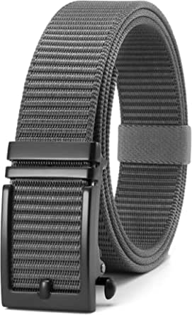 CHAOREN Nylon Ratchet Belt with Automatic slide Buckle,Golf belt for Mens Fully Adjustable Trim to Exact Fit.…