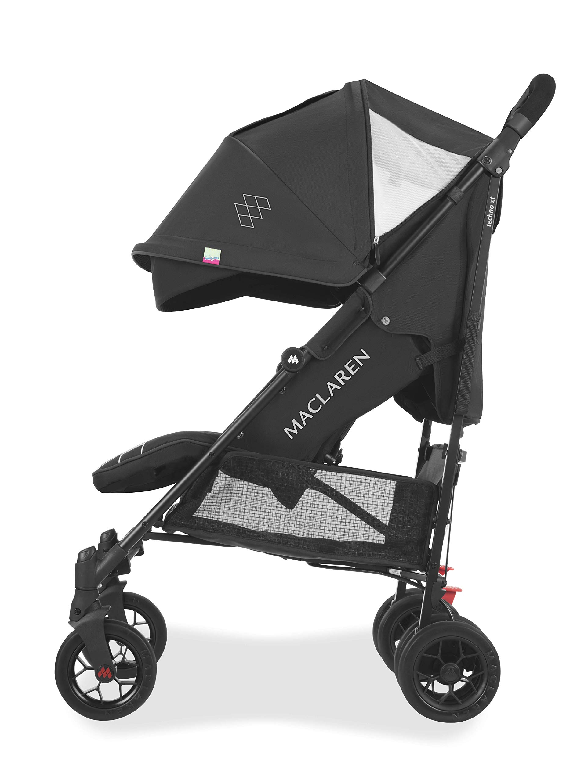 Maclaren Techno arc Stroller - lightweight, compact,Black/Black Maclaren The techno arc's basic weight is 7.1kg; ideal for newborns and children up to 25kg. The folded dimensions are 113cm L x 35cm w x 35cm H. The stroller is assembled The techno arc's padded seat reclines into 4 positions and converts into a new-born safety system. Coupled with ultra light flat-free eva tires and all wheel suspension The techno arc includes a wind-resistant rain cover and headhugger & shoulder pads. Waterproof/ upf 50+ hood to protect from the elements and machine washable seats to keep tidy 3