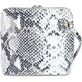 Belli italienische Ledertasche Damen Umhängetasche klein Handtasche Schultertasche Abendtasche schwarz weiß Snake - 17x16,5x8