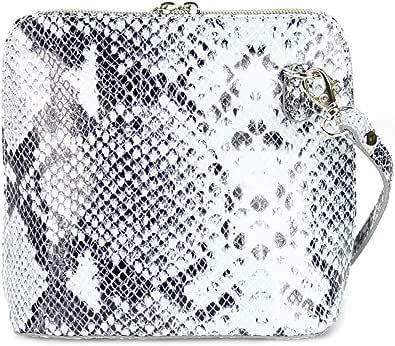 Belli italienische Ledertasche Damen Umhängetasche klein Handtasche Schultertasche Abendtasche schwarz weiß Snake - 17x16,5x8,5 cm (B x H x T)