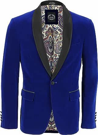 Mens Velvet Tuxedo Suit Jacket Black Shawl Lapel Blazer Smart Formal Dinner Coat [Chest UK 46 EU 56,Royal Blue]
