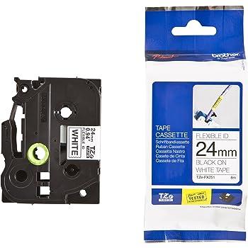 Flexibel 24mm//8m Logic-Seek Schriftband kompatibel f/ür Brother TZE-FX551 Schwarz auf Blau