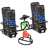 ORCHID ENGINEERS Iron Remote Holder/Stand with Welcome Gesture Lady (Green and Pink) (Black, 4 REMOTES)