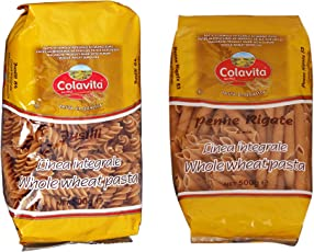 Colavita Pasta Fusilli 500g and Penne 500g -Durum Whole Wheat (Combo Pack of 2)