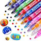 RATEL Feutre Acrylique Peinture Acryliques Stylos, 18 Couleurs Marqueur Peinture Acrylique Premium Permanent Stylo Peinture A