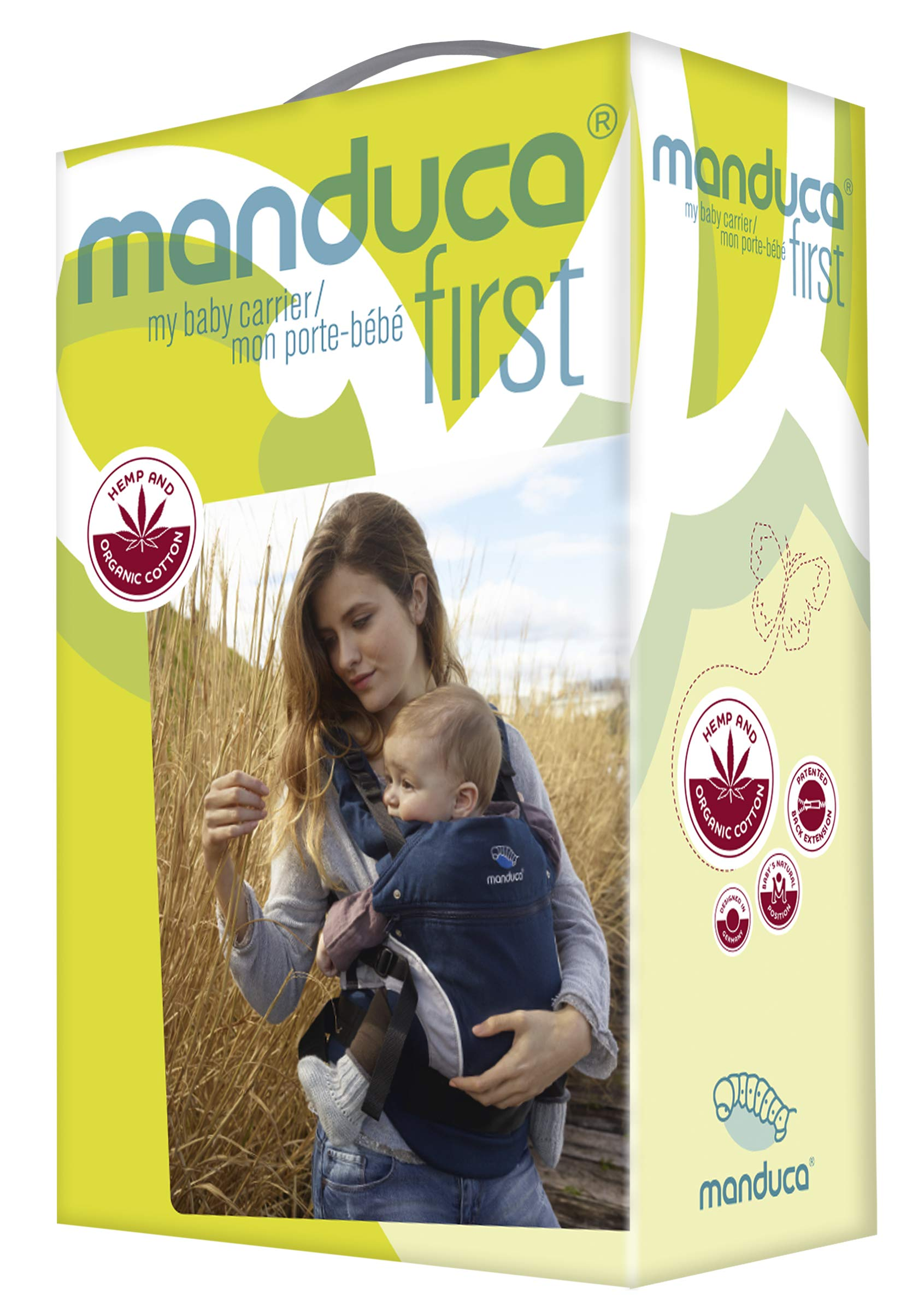 manduca First Baby Carrier > HempCotton Petrol Blue - Brown < Ergonomic Baby & Child Carrier, Soft & Sturdy Canvas (Organic Cotton & Hemp), Front, Hip & Back Carry, for Newborn to Toddlers up to 20kg Manduca manduca baby carrier First HempCotton: the original made of hemp & organic cotton with patented back extension, is already a classic. New features: Improved three-point-buckle (secure & easy to open) Integrated in every carrier: infant pouch (newborn insert), stowable headrest & sun protection for your baby, back extension (grows with your child); Optional accessories for newborns: Size-It (seat reducer) and Zip-In Ellipse Ergonomic design for men & women: Soft padded shoulder straps (multiple adjustable) & the anatomically shaped stable hipbelt (fits hips from 64cm to 140cm) ensure balanced weight distribution. No waist-belt extension needed 6