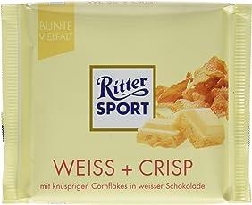 RITTER SPORT Weiss + Crisp (100 g), Weiße Schokolade mit Crisp, verfeinert mit Cornflakes und Reis-Flakes, Tafelschokolade weiß