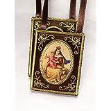Escapulario Virgen del Carmen grande marrón tela decorativo