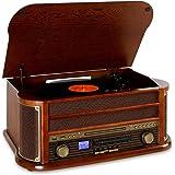 Auna Belle Epoque 1908 - Impianto Stereo retrò, Giradischi, Bluetooth, USB, Lettore CD e Cassette, Altoparlanti Stereo, Funzi