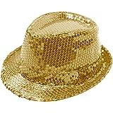 FEDORA TRILBY GANGSTER SEQUIN HAT GLITTERY JAZ UNISEX CAP HIPHOP FANCY DRESS (GOLD)