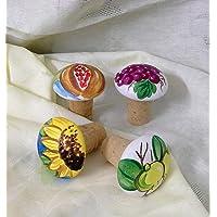 Le Ceramiche Del Re, Tappi di Sughero in Ceramica, Confezione da 4 Tappi di Sughero, Turacciolo, Personalizzabili e…