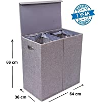 Callas Home Premium Double Laundry Hamper with Magnetic Lid and Removable Liners - Linen Hampers - Grey Foldable Bin - Easily Transport Clothes - Cut Out Handles – Clothes Basket, WFB-101