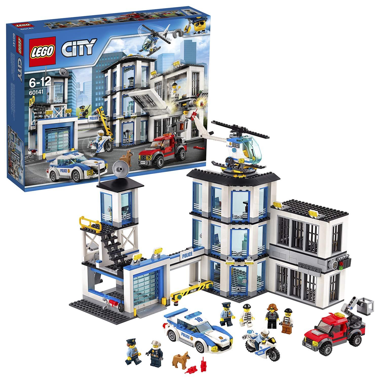 LEGO City – Comisaría de Policía, Set de Construcción Educativo para Niños y Niñas de 6 a 12 Años de Juguete de Policía con Helicóptero y Coches (60141)