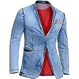 Mens Denim Blazer Jacket Blue Acid Wash Soft Slim Fit Red Buttons Embroidery New